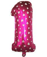 Шар фольгированный цифра 1 розовый с сердечками 70 см