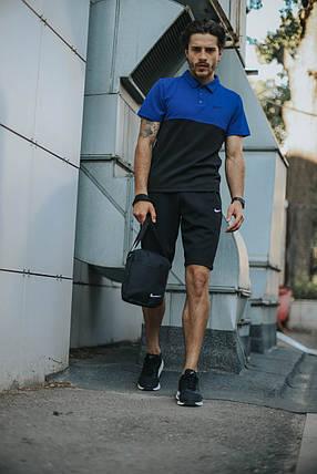 Костюм Футболка Поло черная-синяя + Шорты.  Барсетка в подарок! Nike (Найк), фото 2