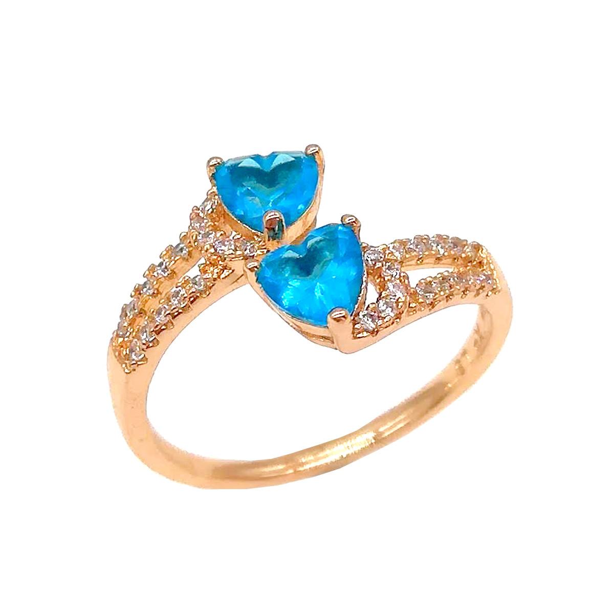 Кольцо Xuping с голубыми и белыми фианитами (куб. цирконием), из медицинского золота, в позолоте, ХР00278