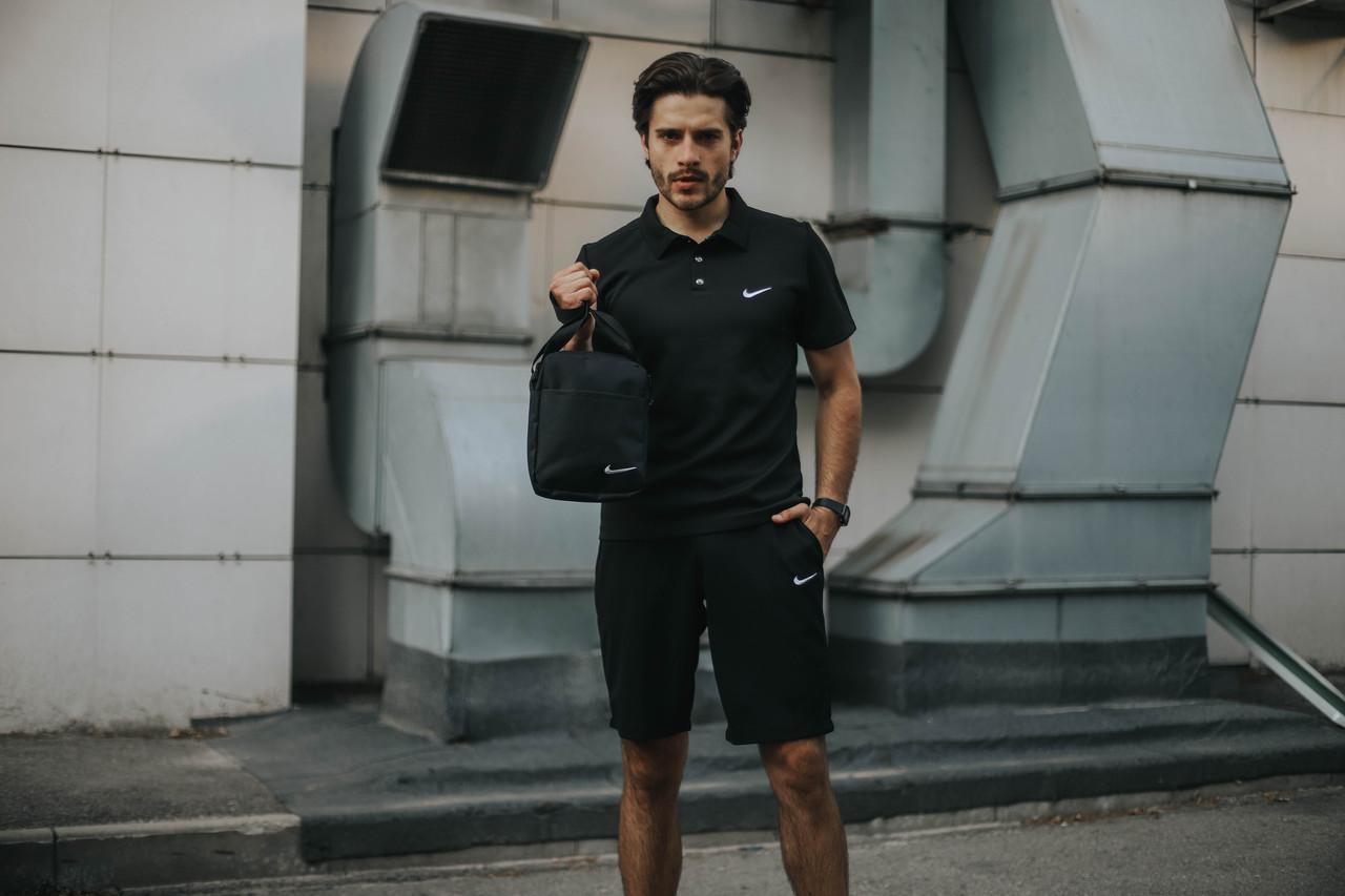 Костюм Футболка Поло черная + Шорты. Барсетка в подарок! Nike (Найк)