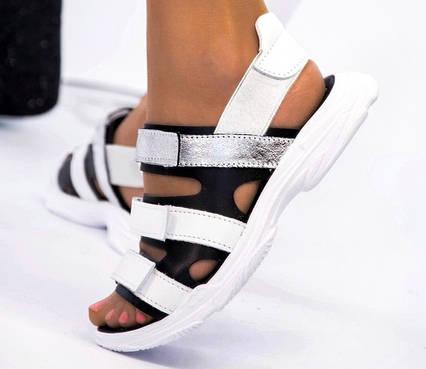 Женские босоножки, сандалии на липучках в стиле Balenciaga белые натуральная кожа