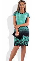 Красивое женское платье летнее бирюзового цвета размеры от XL ПБ-571