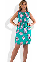Красивое женское платье мини на лето бирюзовое размеры от XL ПБ-576
