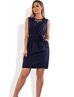 Стильное женское платье мини темно синее размеры от XL ПБ-578