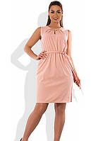 Женское платье мини персикового цвета размеры от XL ПБ-579
