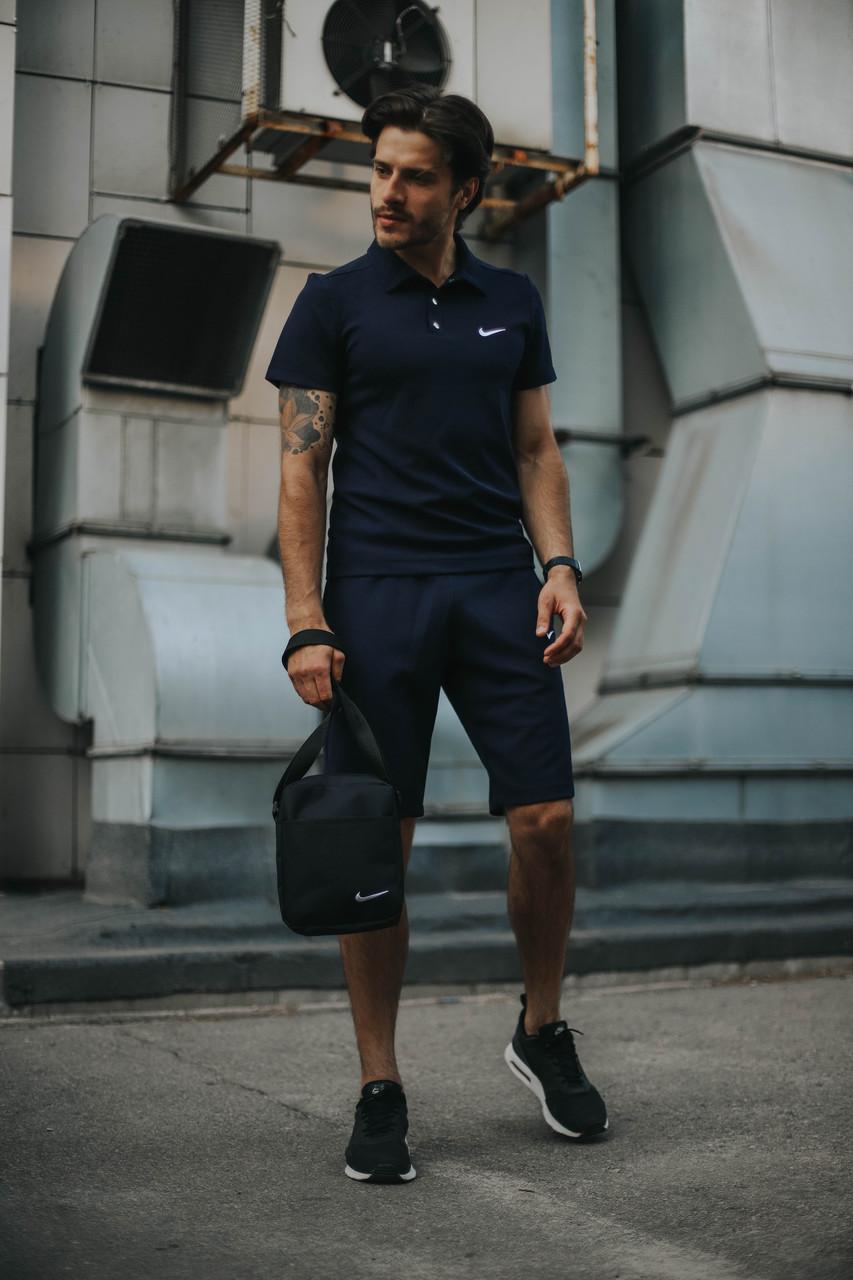 Костюм Футболка Поло синий + Шорты.  Барсетка в подарок! Nike (Найк)