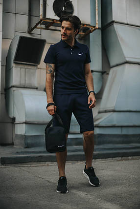 Костюм Футболка Поло синий + Шорты.  Барсетка в подарок! Nike (Найк), фото 2