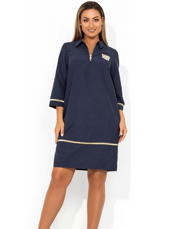 Красивое платье мини темно синее размеры от XL ПБ-643