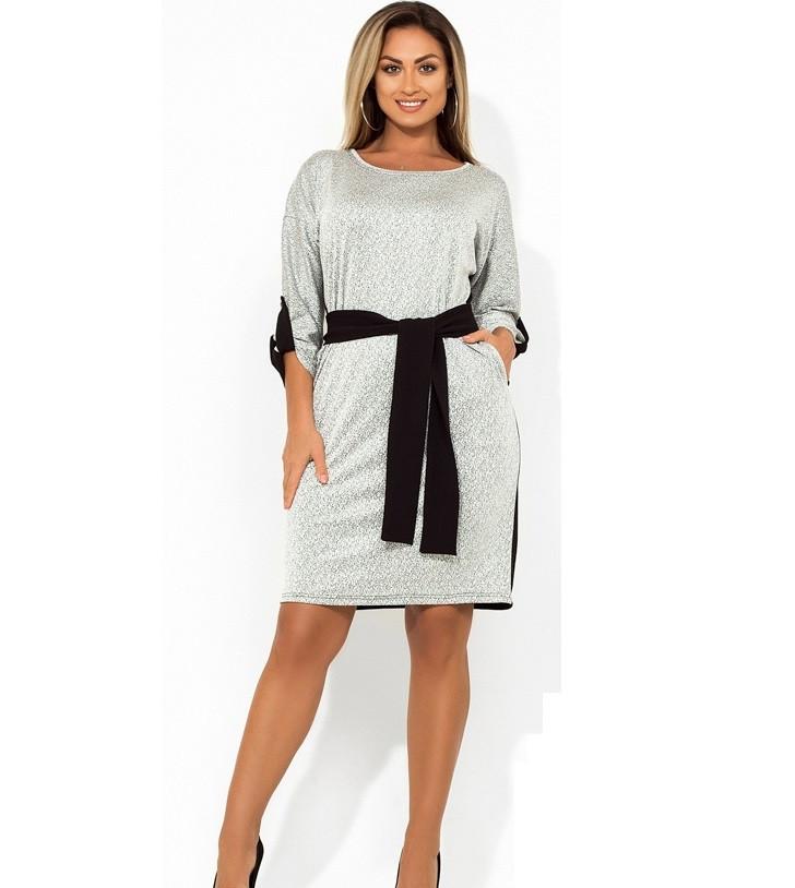 Женское платье миди двухцветное с поясом размеры от XL ПБ-696