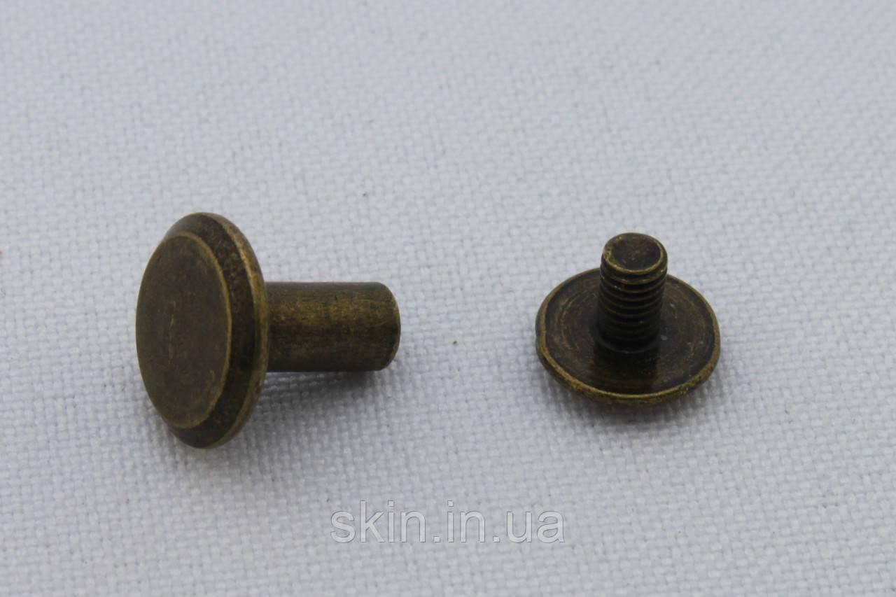 Винт ременной удлиненный, диаметр шляпки - 10 мм, высота - 8 мм, цвет - антик, арт. СК 5455