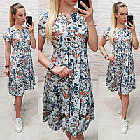 3eda8d47cffa524 Летнее платье свободного кроя,арт С19-02, голубое с растительными узорами
