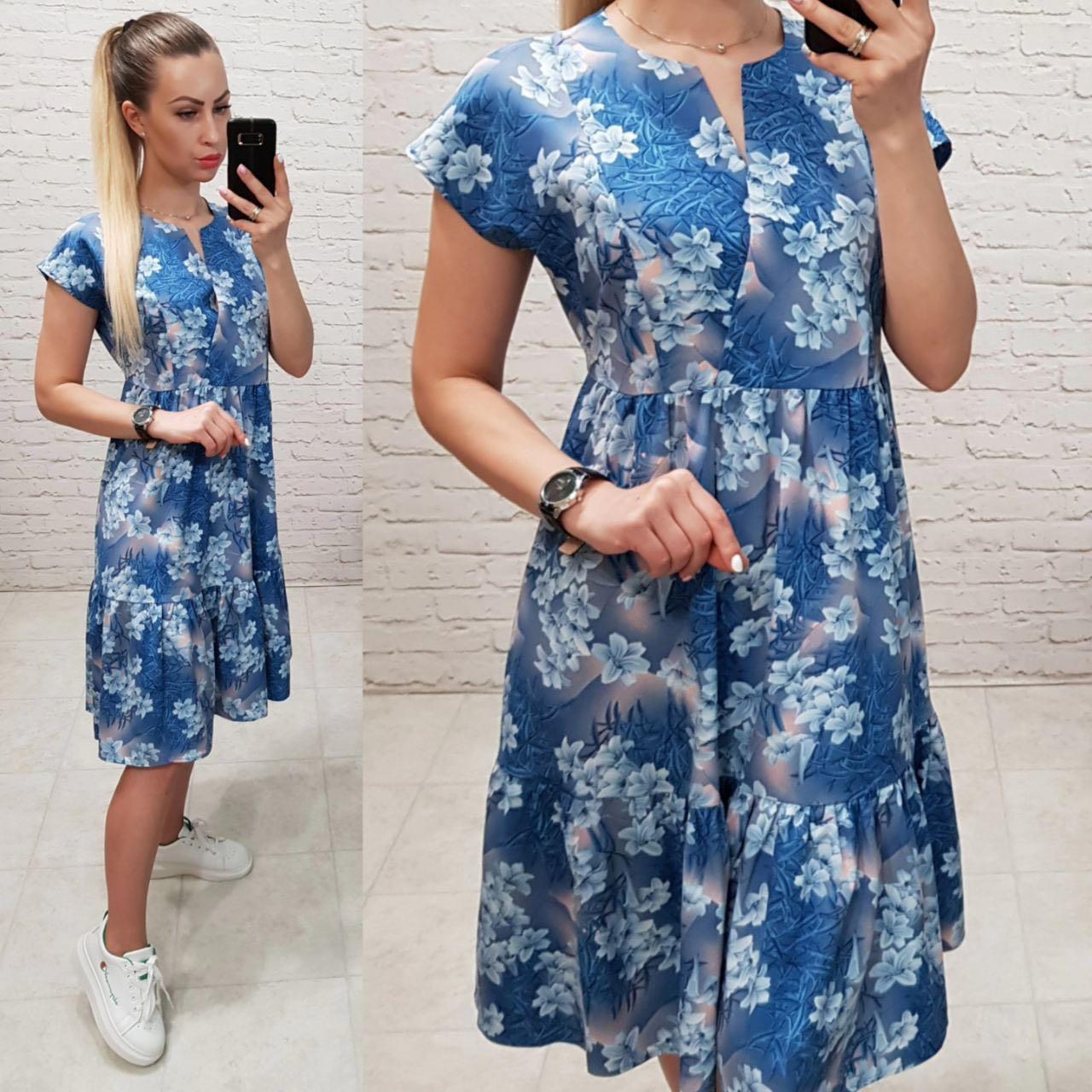 Літня сукня вільного крою,арт С19-02, блакитне в квіти