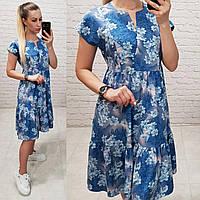 Літня сукня вільного крою,арт С19-02, блакитне в квіти, фото 1