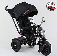 Детский трёхколёсный велосипед 4490 - 7009 Best Trike Черный, поворотное сиденье, складной руль, пульт