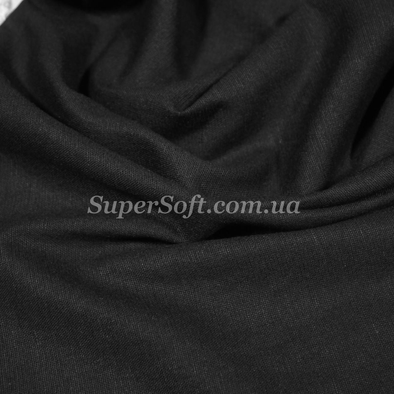 Ткань стрейч лен черный