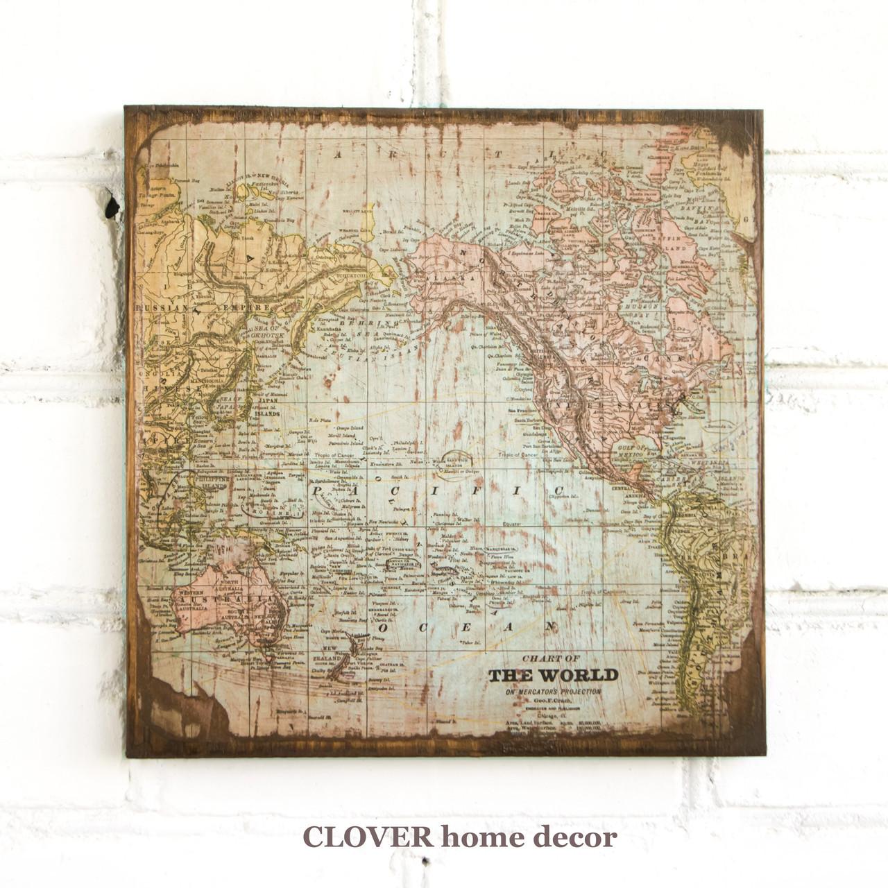 """Старинная карта """"The World"""" на деревянной основе"""