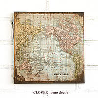 """Старинная карта """"The World"""" на деревянной основе, фото 1"""