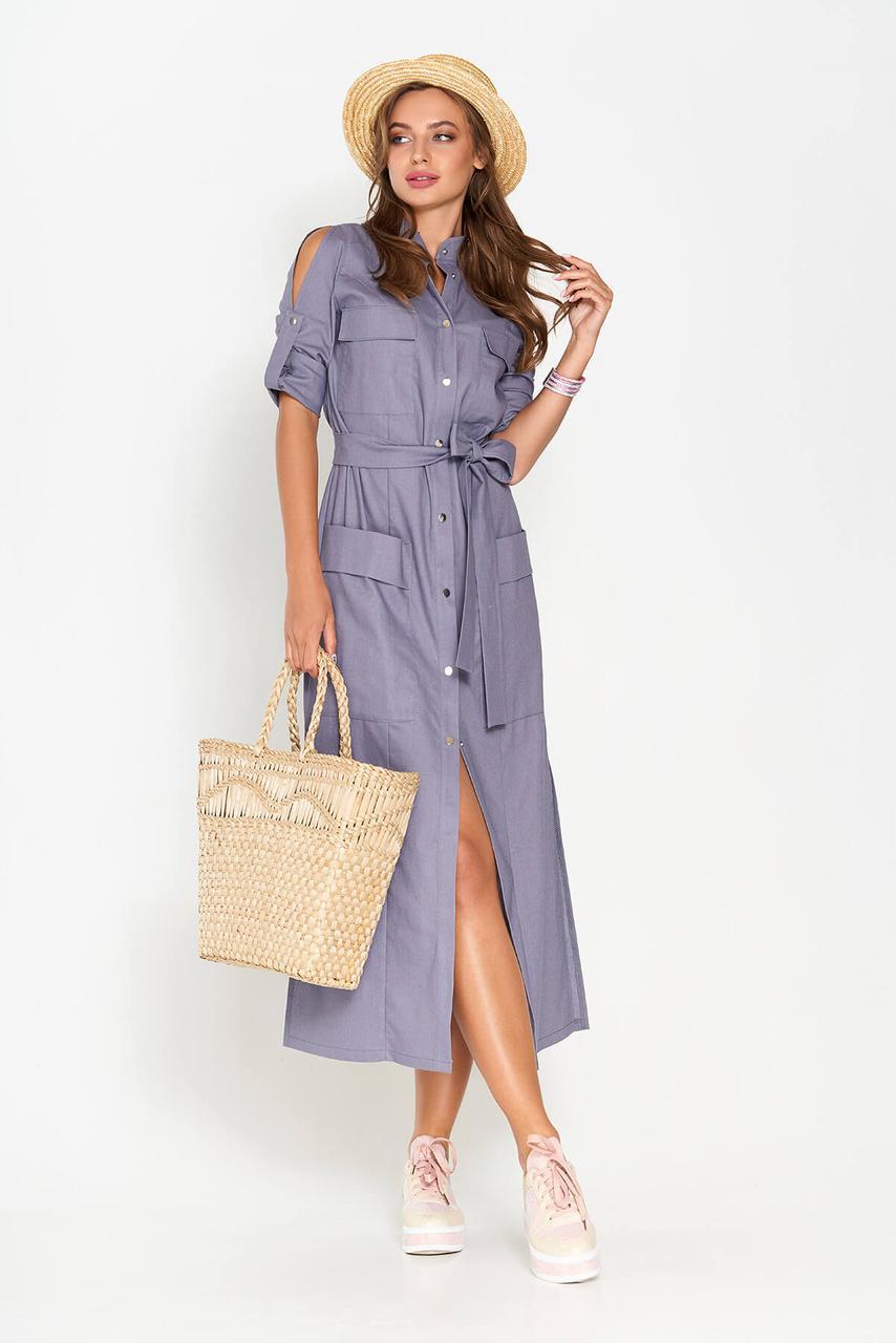 Льняное платье макси длины синего цвета(размер 44)