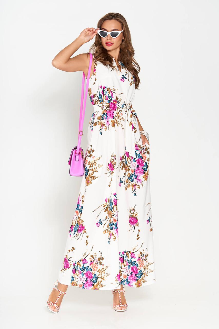 Белое платье макси длины с фиолетовыми цветами(размер 44)