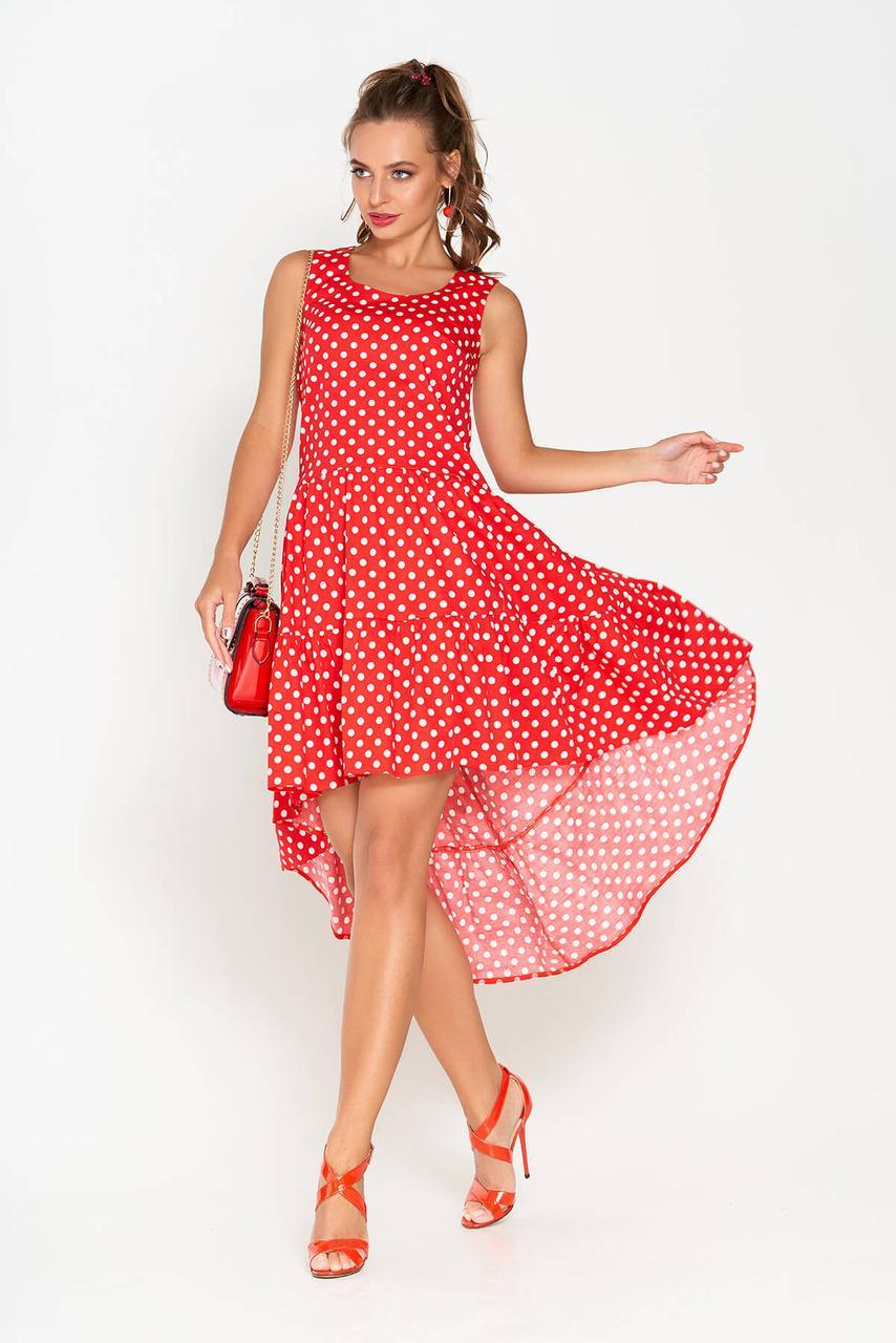 Платье красное в горошек с оборкой по низу(размер 2XL)