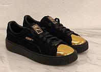 Замшевые женские кроссовки Puma 36 размеры (22.5 см), черные, на высокой подошве., фото 1