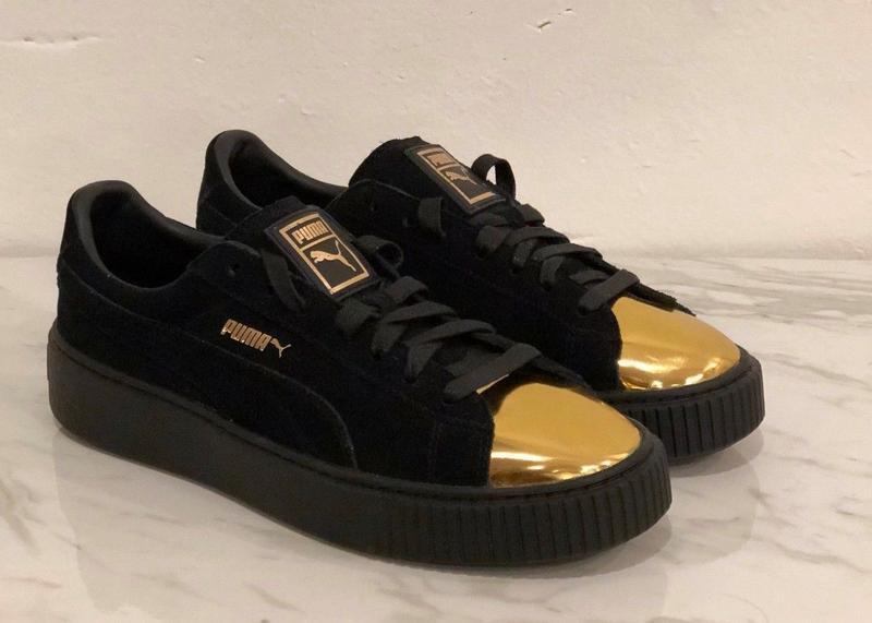 Замшевые женские кроссовки Puma 36 размеры (22.5 см), черные, на высокой подошве.