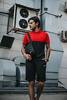 Футболка поло + Шорты + Барсетка в стиле Nike черно-красный! Спортивный костюм мужской летний