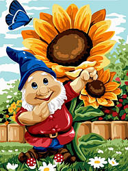 Картина по номерам VK221 Садовый гномик, 30x40 см., Babylon