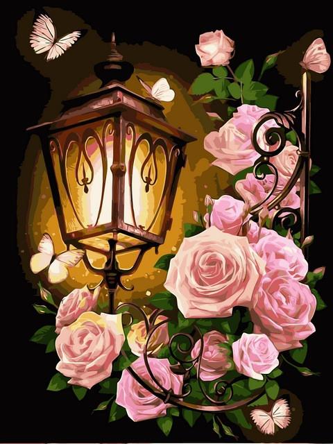 Картина по номерам Розовый фонарь, 30x40 см., Babylon