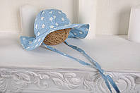 """Детская панамка для девочки """"Голубая с ромашками"""" в размерах 46, 50 и 54 см"""