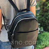 Жіночий шкіряний міський рюкзак на два відділення, фото 2