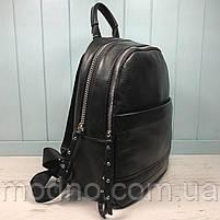 Жіночий шкіряний міський рюкзак на два відділення, фото 4