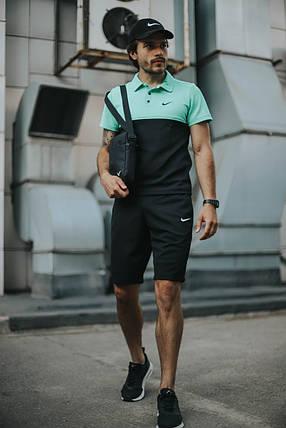 Костюм Футболка Поло черная-бирюза + Шорты + Кепка Черная(С Белым Логотипом).  Барсетка в подарок! Nike (Найк), фото 2