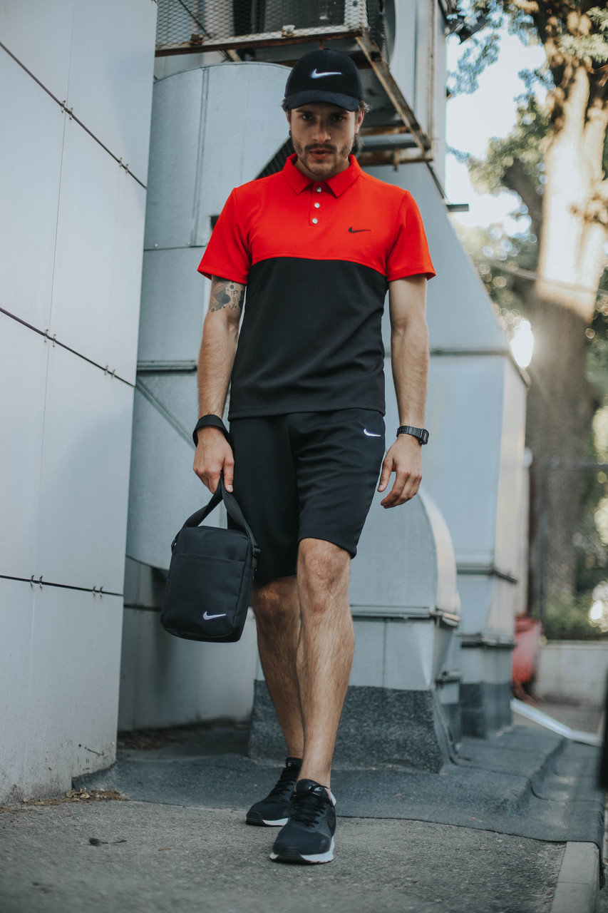 Костюм Футболка Поло черная-красная+Шорты+Кепка Черная(С Белым Логотипом). Барсетка в подарок!Nike