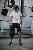 Костюм Футболка Поло белая + Шорты + Кепка Черная(С Белым Логотипом).  Барсетка в подарок! Nike (Найк)
