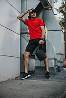 Костюм Футболка Поло красная + Шорты + Кепка Черная(С Белым Логотипом).  Барсетка в подарок! Nike (Найк)