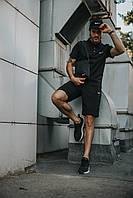 Костюм Футболка Поло черная + Шорты + Кепка Черная(С Белым Логотипом).  Барсетка в подарок! Nike (Найк)