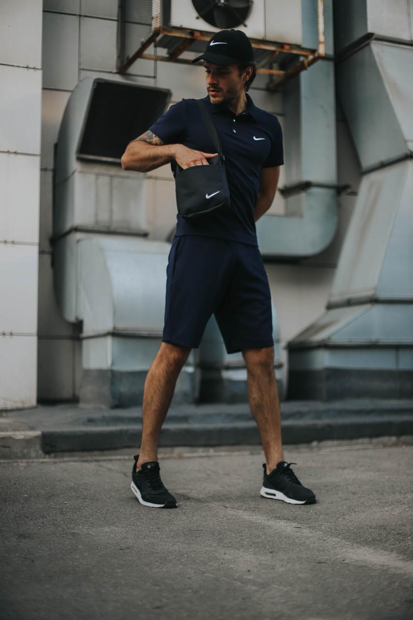 Костюм Футболка Поло синий + Шорты + Кепка Черная.  Барсетка в подарок! Nike (Найк)