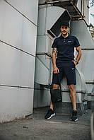 Костюм Футболка Поло синий + Шорты + Кепка Черная(С Черным Логотипом).  Барсетка в подарок! Nike (Найк)