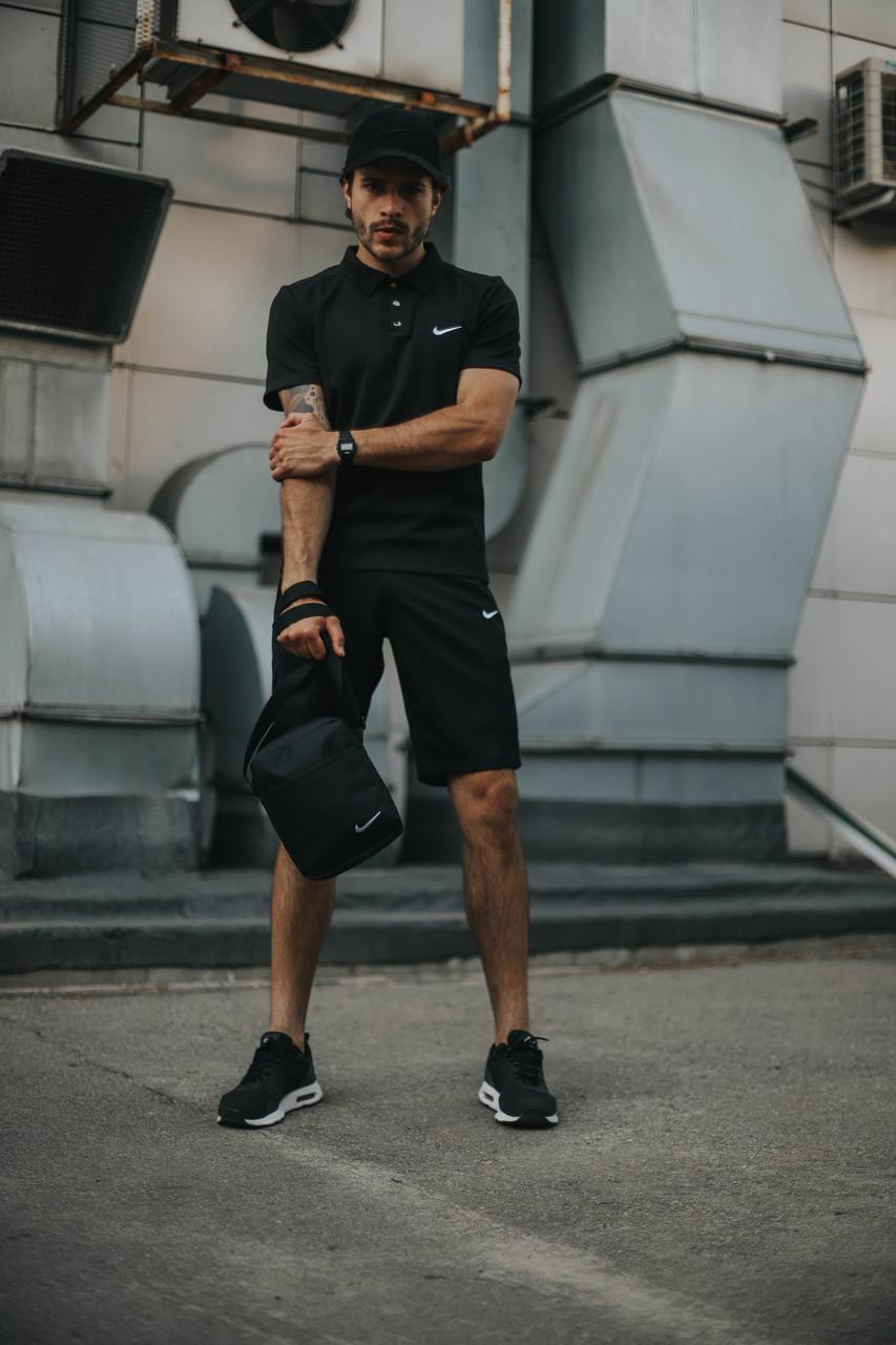 Костюм Футболка Поло черная + Шорты + Кепка Черная.  Барсетка в подарок! Nike (Найк)