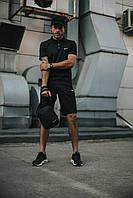 Костюм Футболка Поло черная + Шорты + Кепка Черная(С Черным Логотипом).  Барсетка в подарок! Nike (Найк)