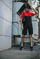 Футболка поло + Шорты + Кепка + Подарок в стиле Nike черно-красный! Спортивный костюм мужской летний, фото 1
