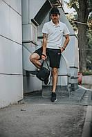 Костюм Футболка Поло белая + Шорты + Кепка Черная(С Черным Логотипом).  Барсетка в подарок! Nike (Найк)
