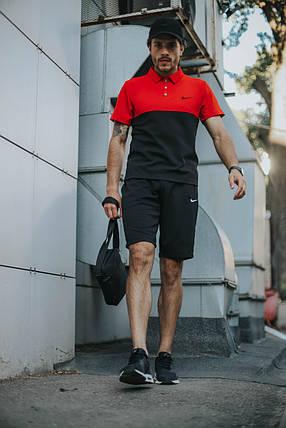 Костюм Футболка Поло черная-красная+Шорты+Кепка Черная(С Черным Логотипом). Барсетка в подарок!Nike, фото 2