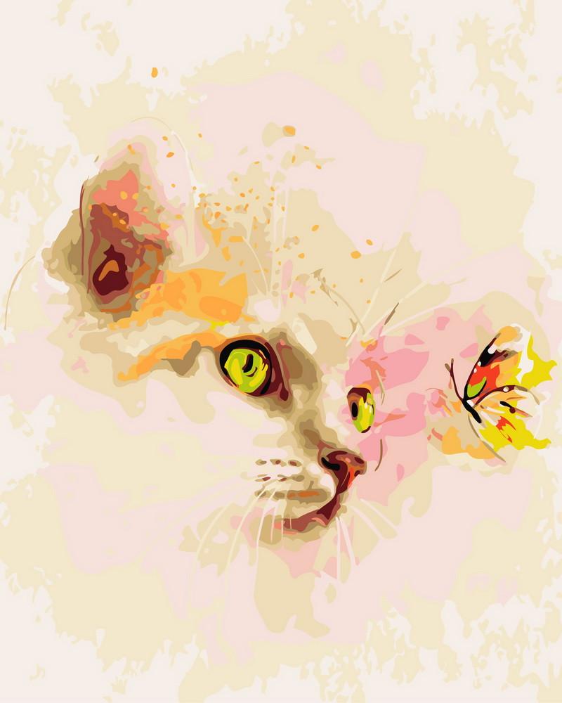 """Картина по номерам """"Кошка и бабочка"""" Rainbow Art"""