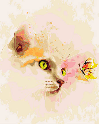 "Картина по номерам ""Кошка и бабочка"" Rainbow Art, фото 2"