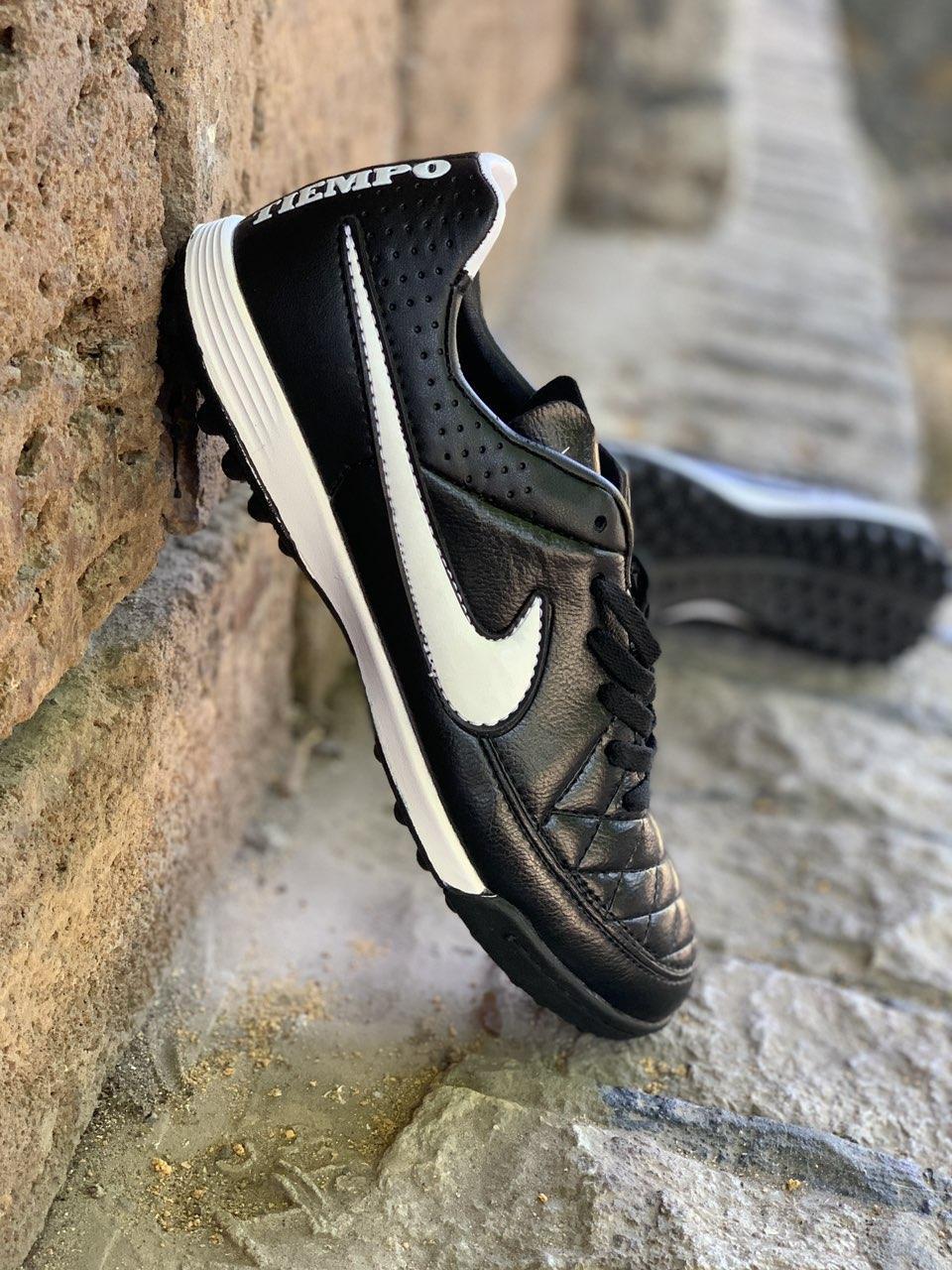 Сороконожки футбольные Nike Tiempo Черные реплика