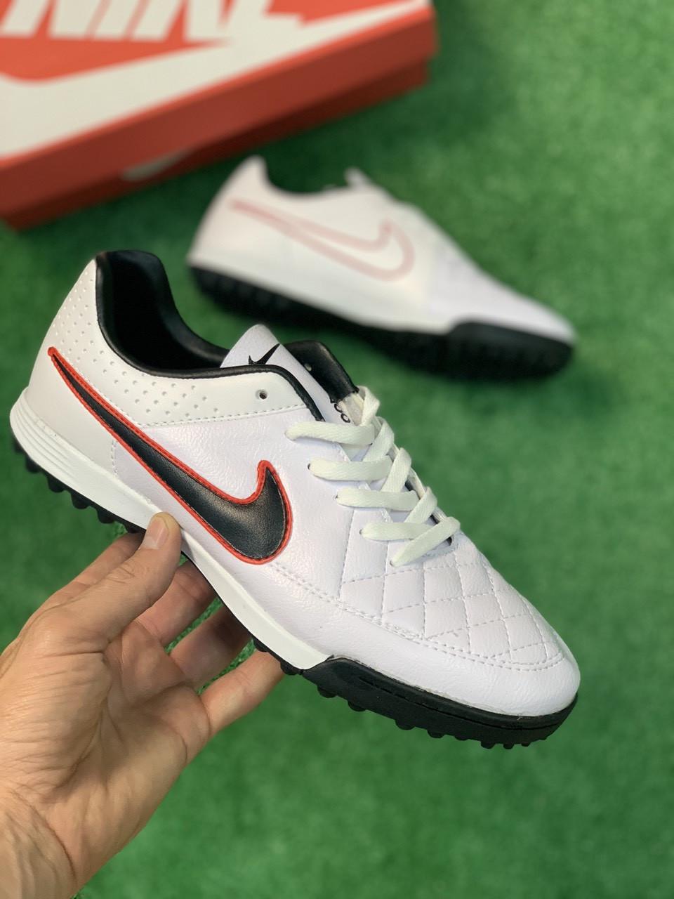 Сороконожки для футбола Nike Tiempo Белые реплика