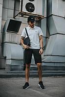 Футболка поло + Шорты + Кепка + Подарок в стиле Nike черно-белый! Спортивный костюм мужской летний, фото 1