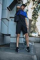 Костюм Футболка Поло черная-синяя + Шорты + Кепка Черная(С Черным Логотипом).  Барсетка в подарок! Nike (Найк)